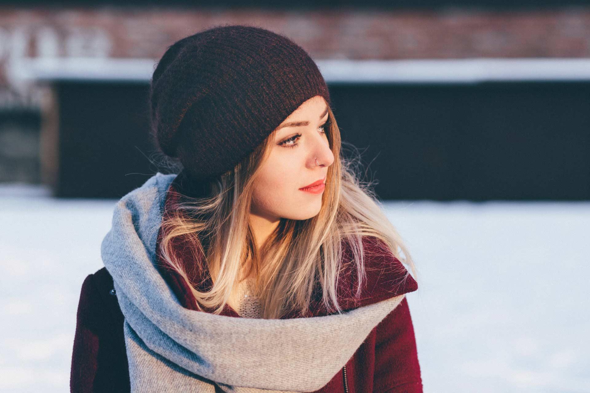 winter girl smiling lashes