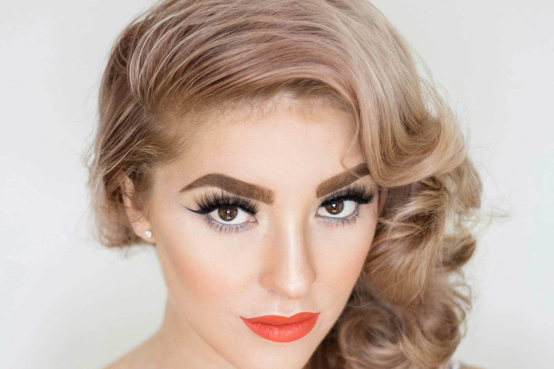 woman beautiful mega volume eyelashes